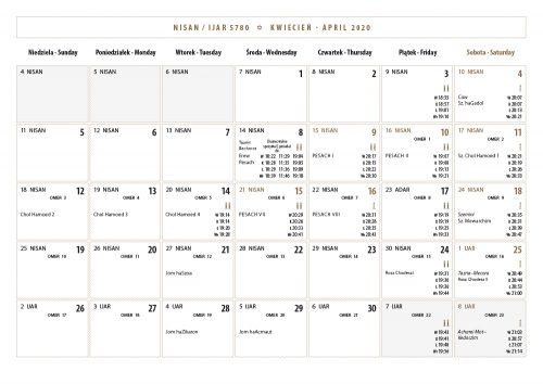 Kalendarz Żydowski   Jewish Calendar 5780   2019/2020